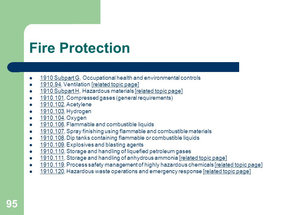 Fire Protection 1910 Subpart G, Occupational health and environmental controls. 1910.94, Ventilation [related topic page]